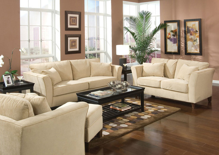 Park Place Cream & Cappuccino Durable Colored Velvet Sofa & Love Seat,Coaster Furniture