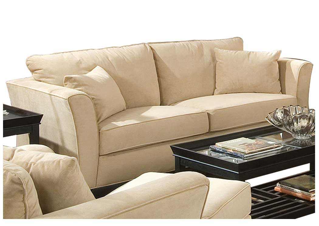 Attrayant Park Place Cream U0026 Cappuccino Durable Colored Velvet Sofa,Coaster Furniture
