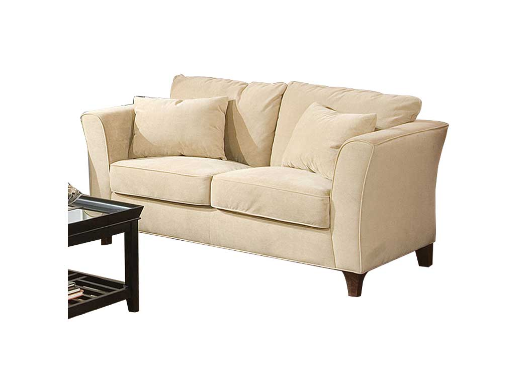 Park Place Cream & Cappuccino Durable Colored Velvet Love Seat,Coaster Furniture