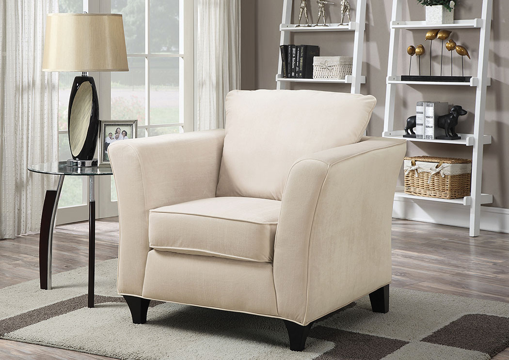 Park Place Cream & Cappuccino Colored Velvet Chair,Coaster Furniture