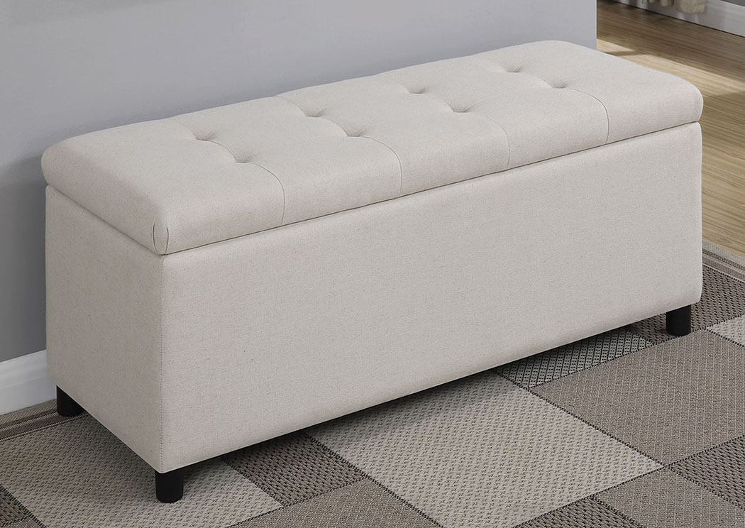Atlantic Bedding And Furniture White Upholstered Storage Bench