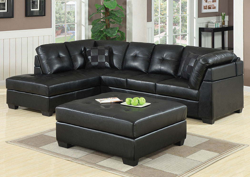 Southern furniture co inc darie black sectional for Black front room furniture