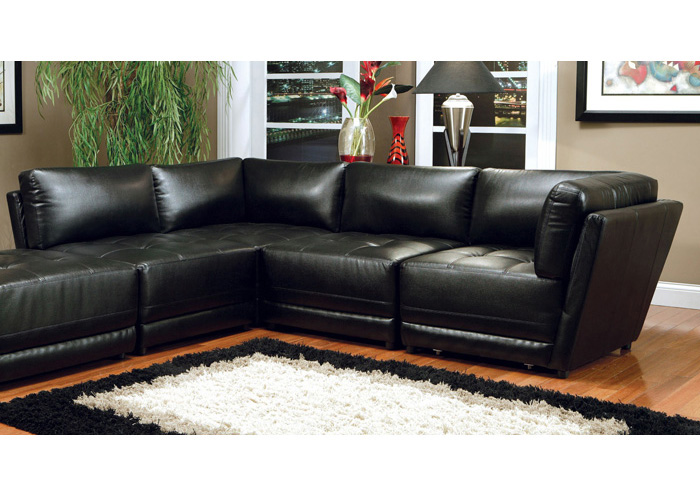 Kayson Sectional Black Armless Chair (Bonded Leather),Coaster Furniture