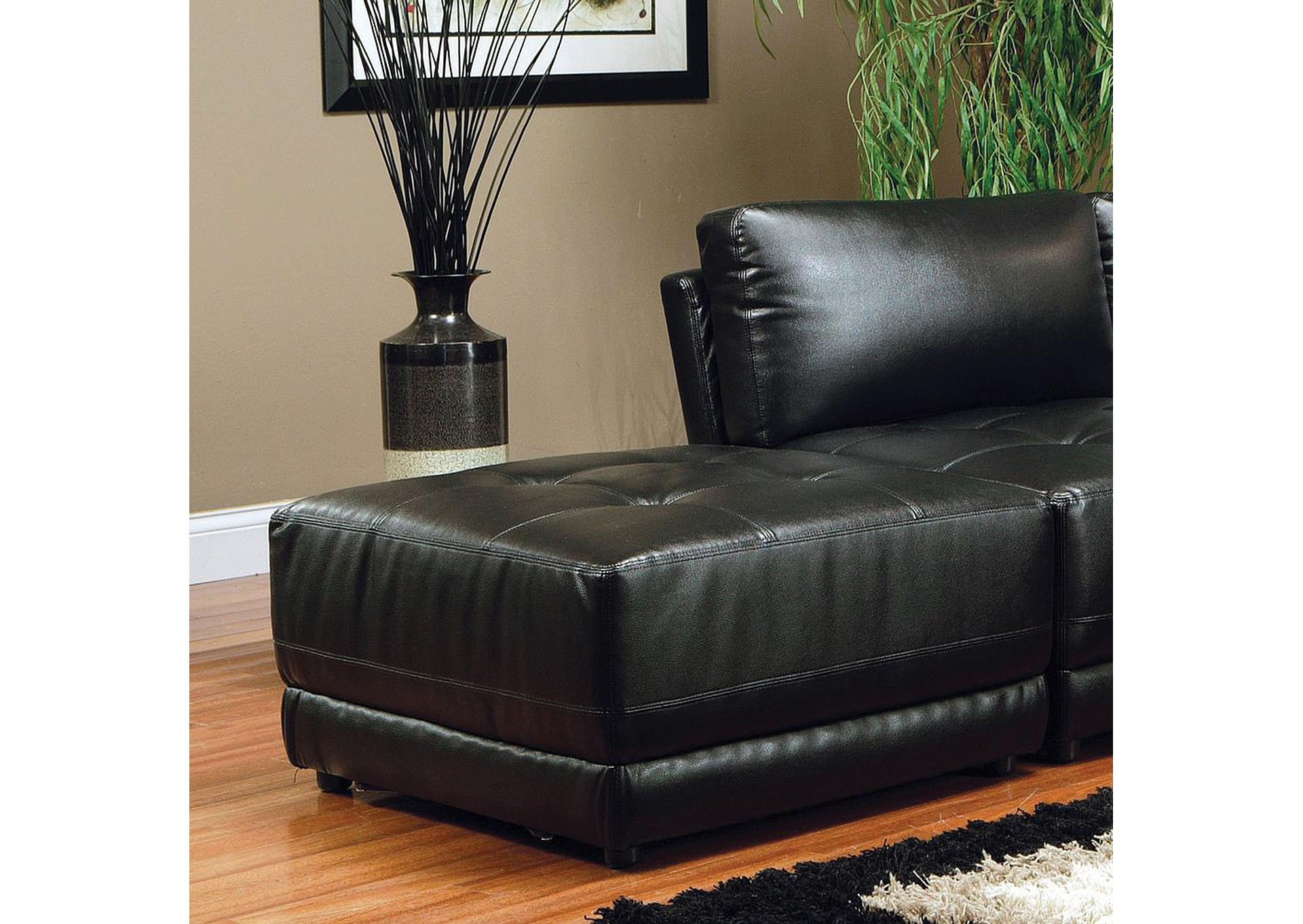 Kayson Sectional Black Ottoman (Bonded Leather),Coaster Furniture