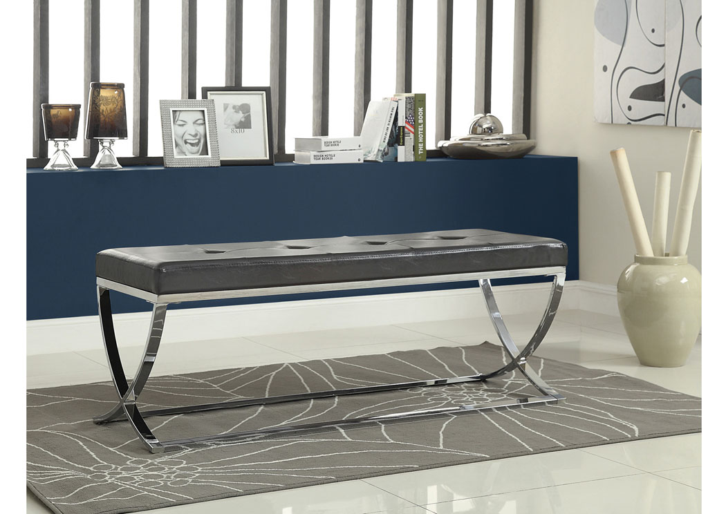 Black & Chrome Bench,Coaster Furniture