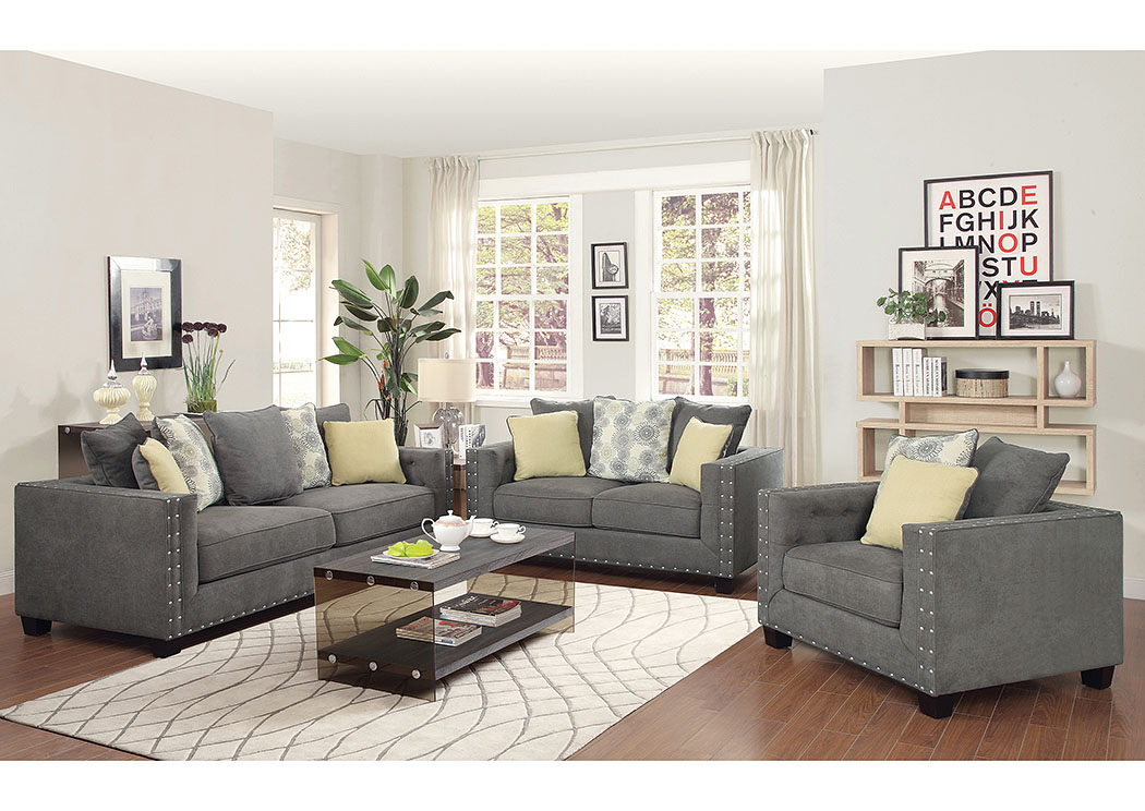 Atlantic bedding and furniture gray sofa and loveseat for Grey front room furniture