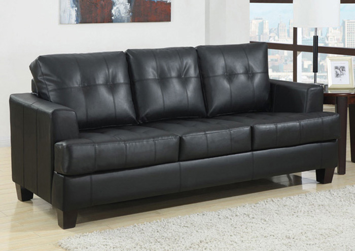 Samuel Black Bonded Leather Sleeper Sofa,ABF Coaster Furniture