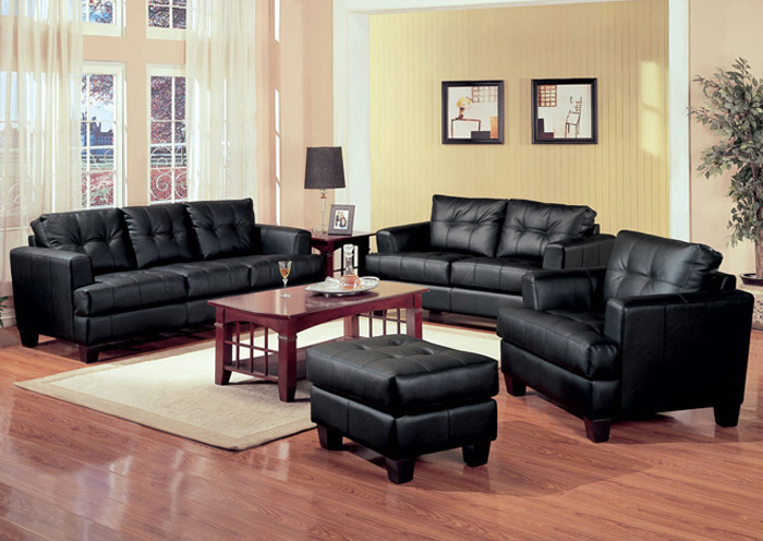 Samuel Black Bonded Leather Sofa & Love Seat,ABF Coaster Furniture