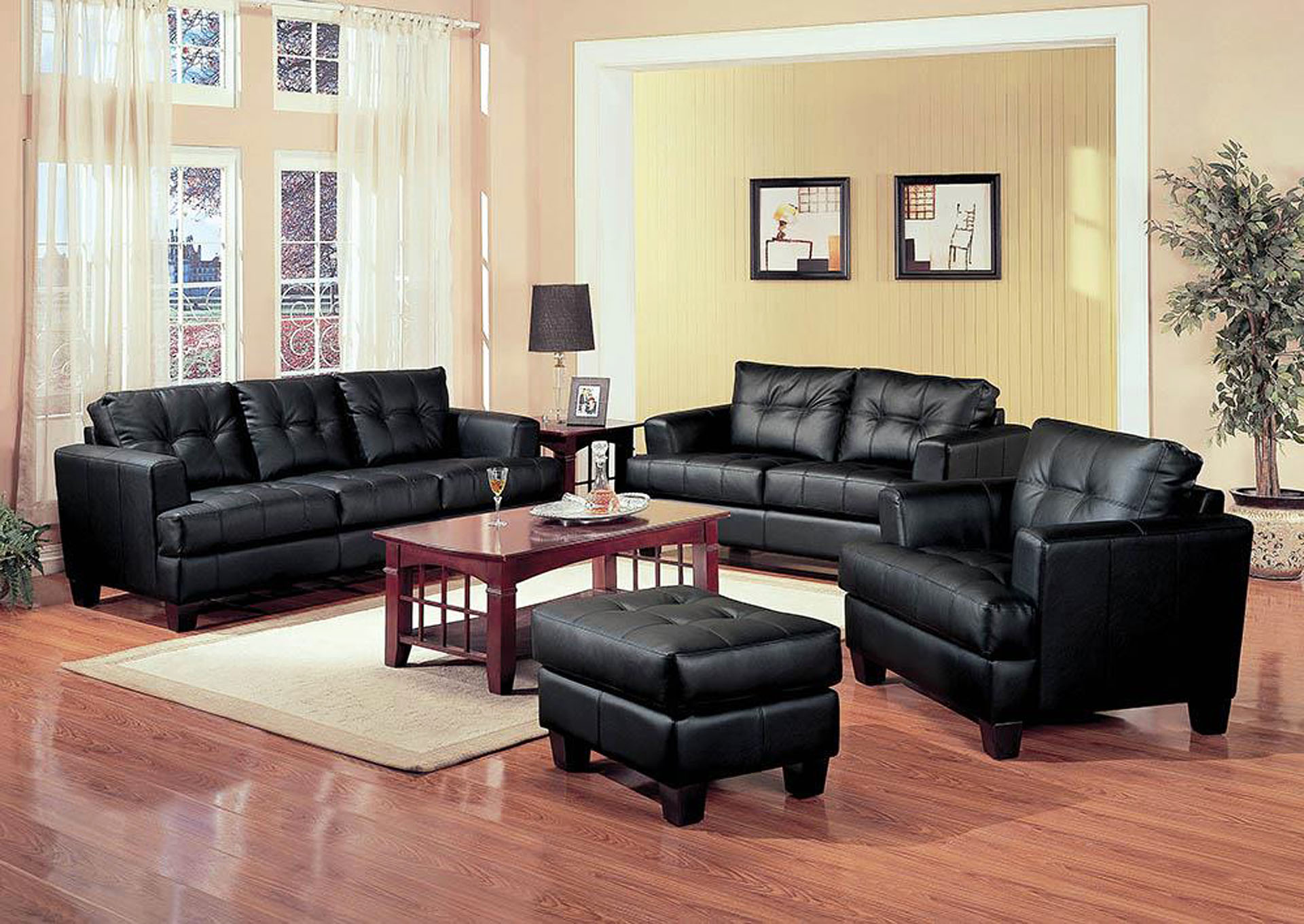 Samuel Black Bonded Leather Sofa