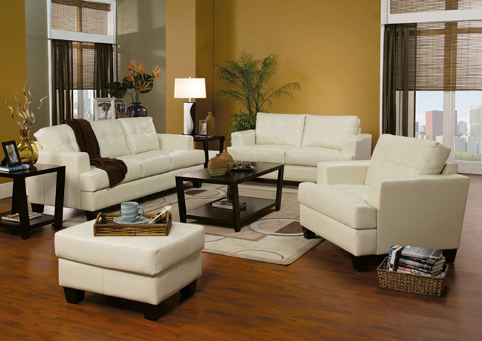 Samuel Cream Bonded Leather Sofa & Love Seat,Coaster Furniture