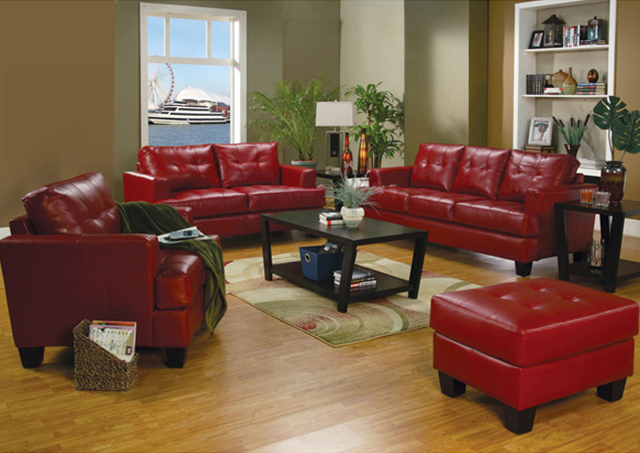 Samuel Red Bonded Leather Sofa & Love Seat,Coaster Furniture