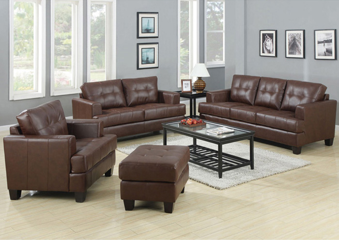 Samuel Dark Brown Bonded Leather Sofa & Love Seat,Coaster Furniture