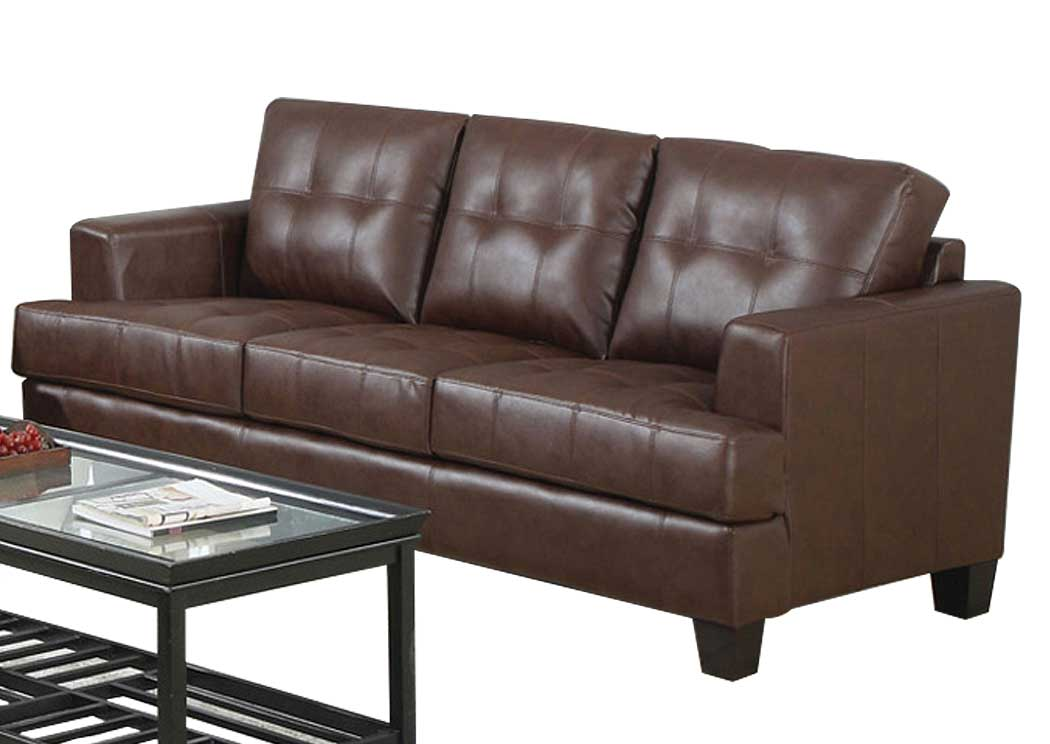 Lovely Samuel Dark Brown Bonded Leather Sofa,Coaster Furniture