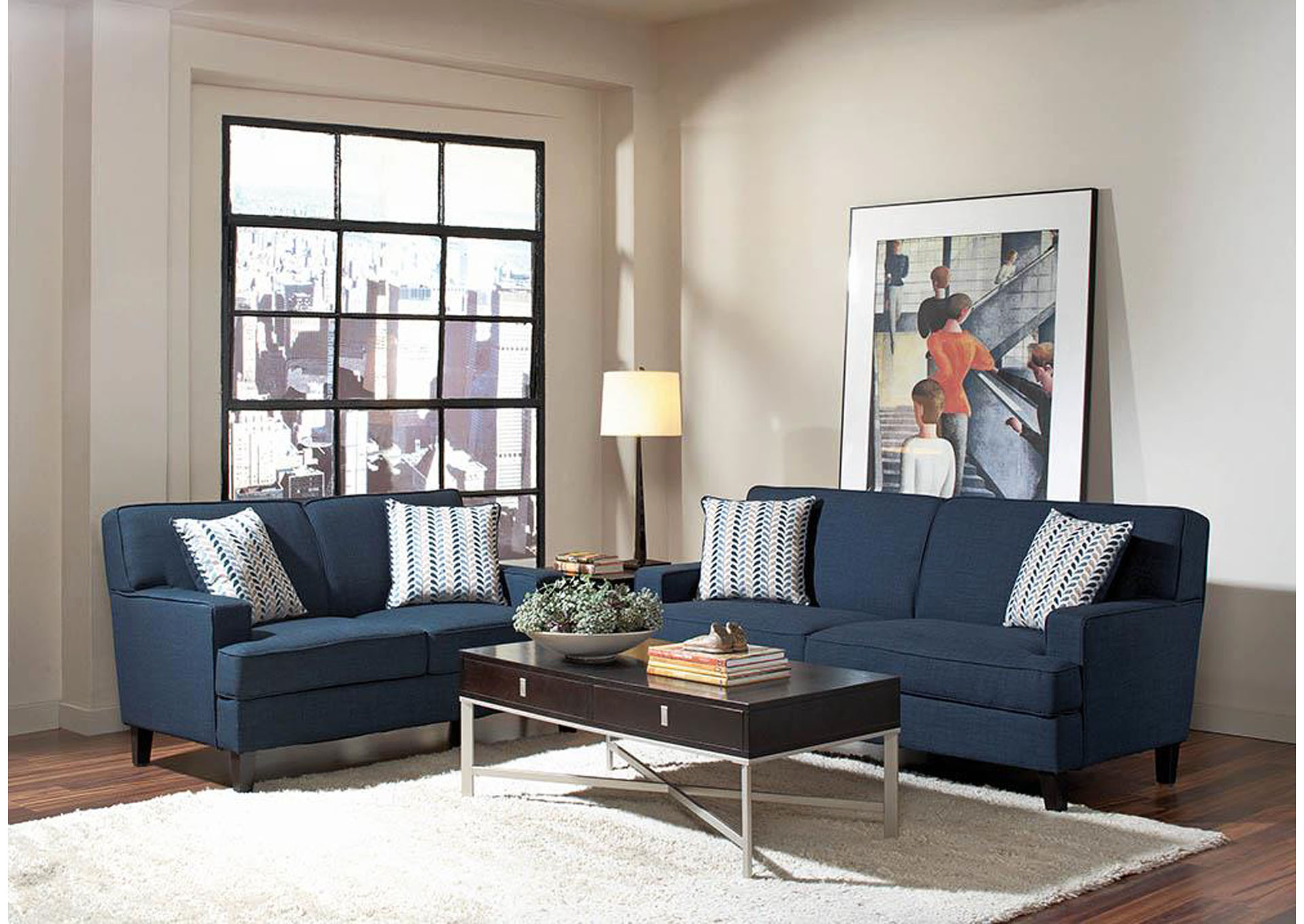 Brothers Fine Furniture Finley Blue Loveseat