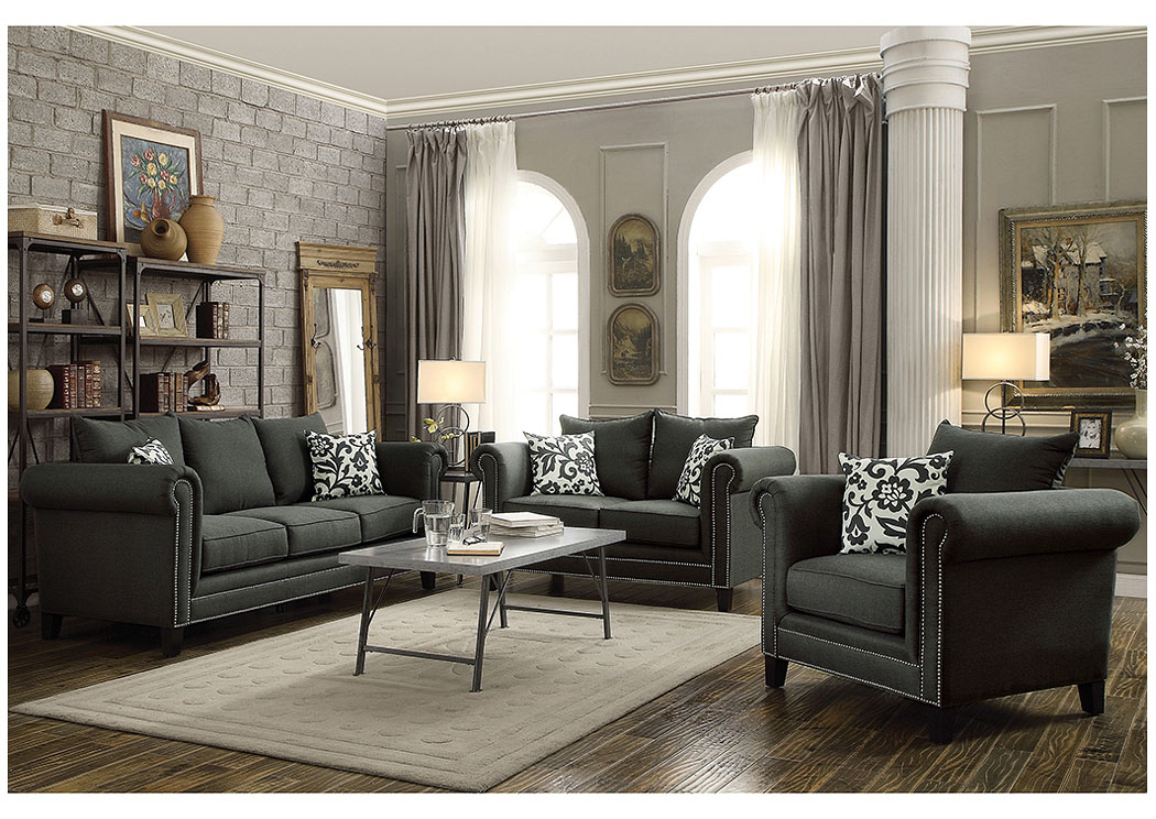 Austin 39 s couch potatoes furniture stores austin texas charcoal sofa loveseat for Charcoal and red living room