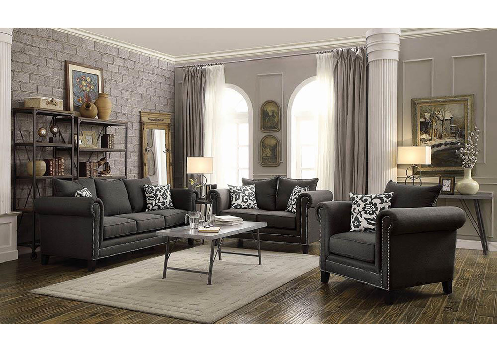 Council 39 s furniture charcoal sofa for Charcoal sofa living room