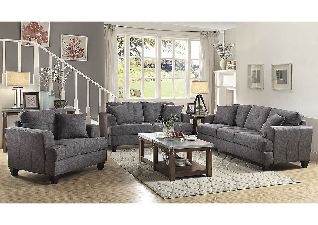 Charcoal Sofa and Loveseat,Coaster Furniture