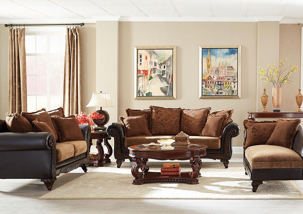 Garroway Russet And Chocolate Sofa And Loveseat