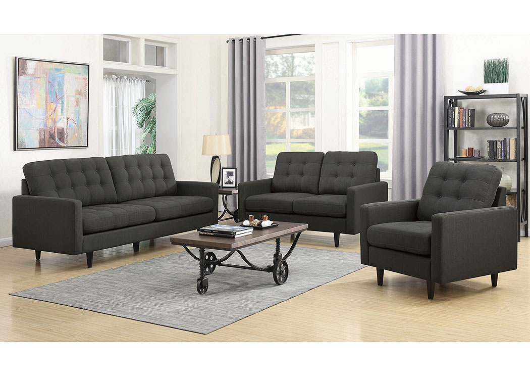 Charcoal Upholstered Sofa,Coaster Furniture