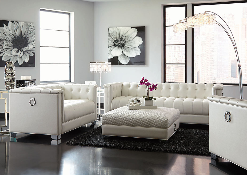 White Ottoman w/Diamond,Coaster Furniture