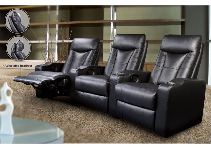 3-Seat Black Theater Seating,Coaster Furniture