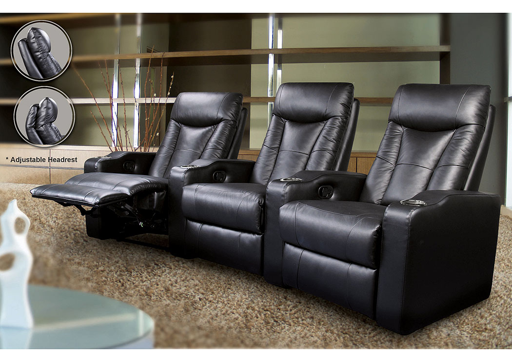 Pavillion Home Theater Collection Black Recliner,Coaster Furniture