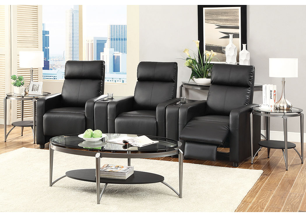 Stack furniture toohey black 3 seat theater seating for Black front room furniture