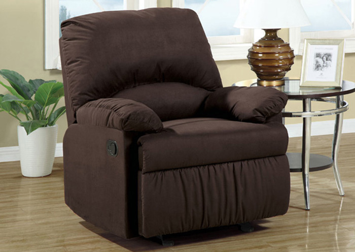 Chocolate Microfiber Glider Recliner,Coaster Furniture