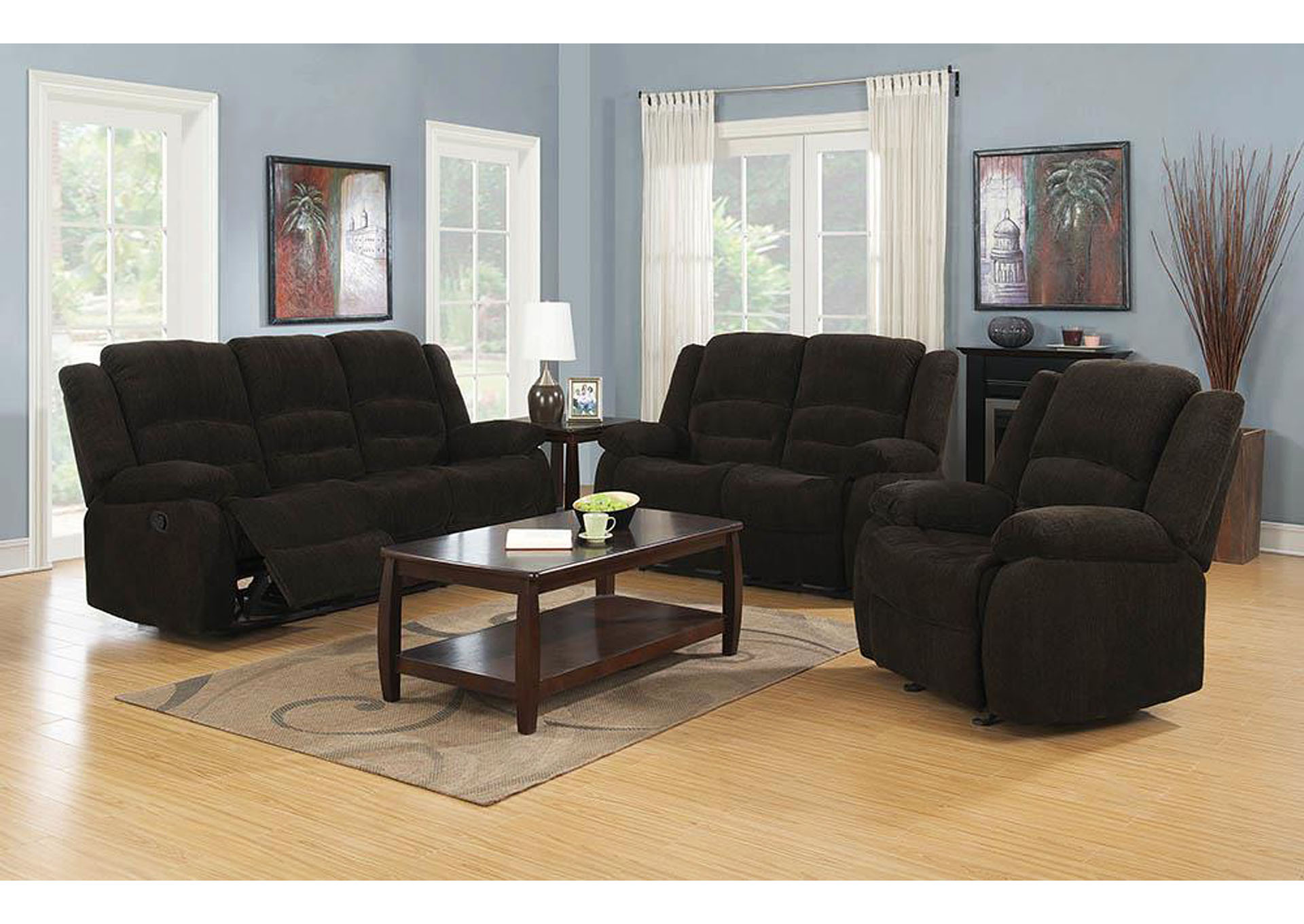 Gordon Dark Brown Motion Sofa,Coaster Furniture
