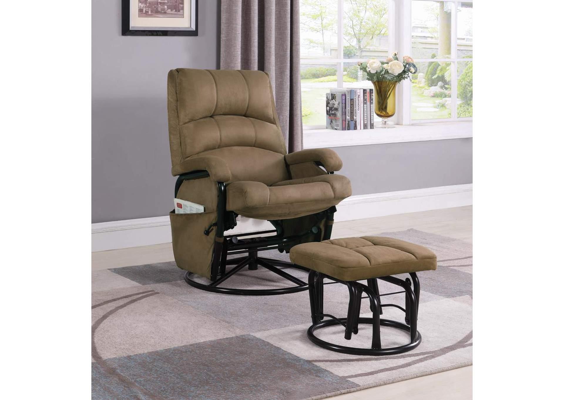 Austinu0027s Couch Potatoes | Furniture Stores Austin, Texas Brown / Black  Microfiber Glider Rocker W/ Ottoman
