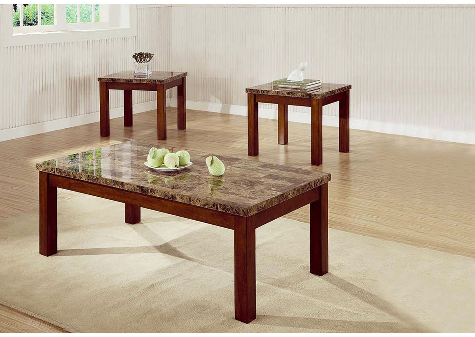 Beau Woods Furniture Gallery   Granbury, TX 3pc Marble Looking Occasional Table  Set