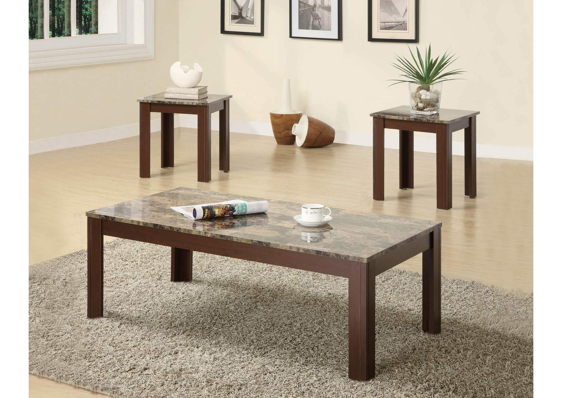 Marble Looking 3pc Occasional Table Set,ABF Coaster Furniture