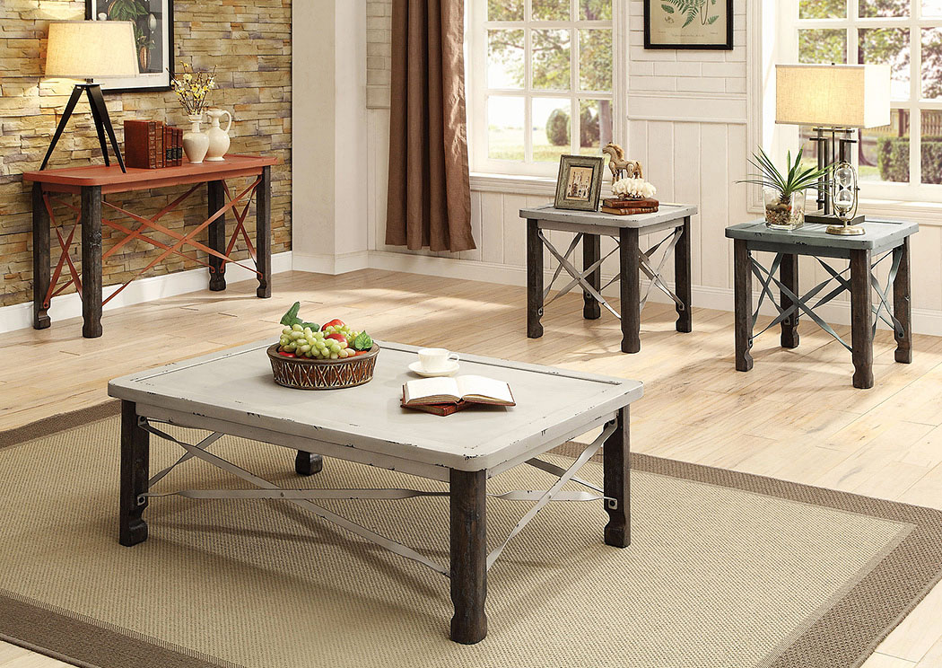 Furniture Living Room Rustic White Coffee Table W Spalling Effect