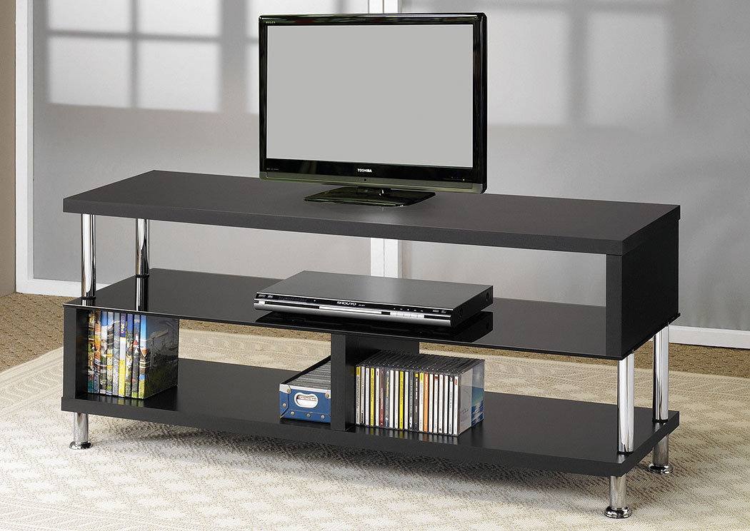 Black & Chrome TV Stand,Coaster Furniture