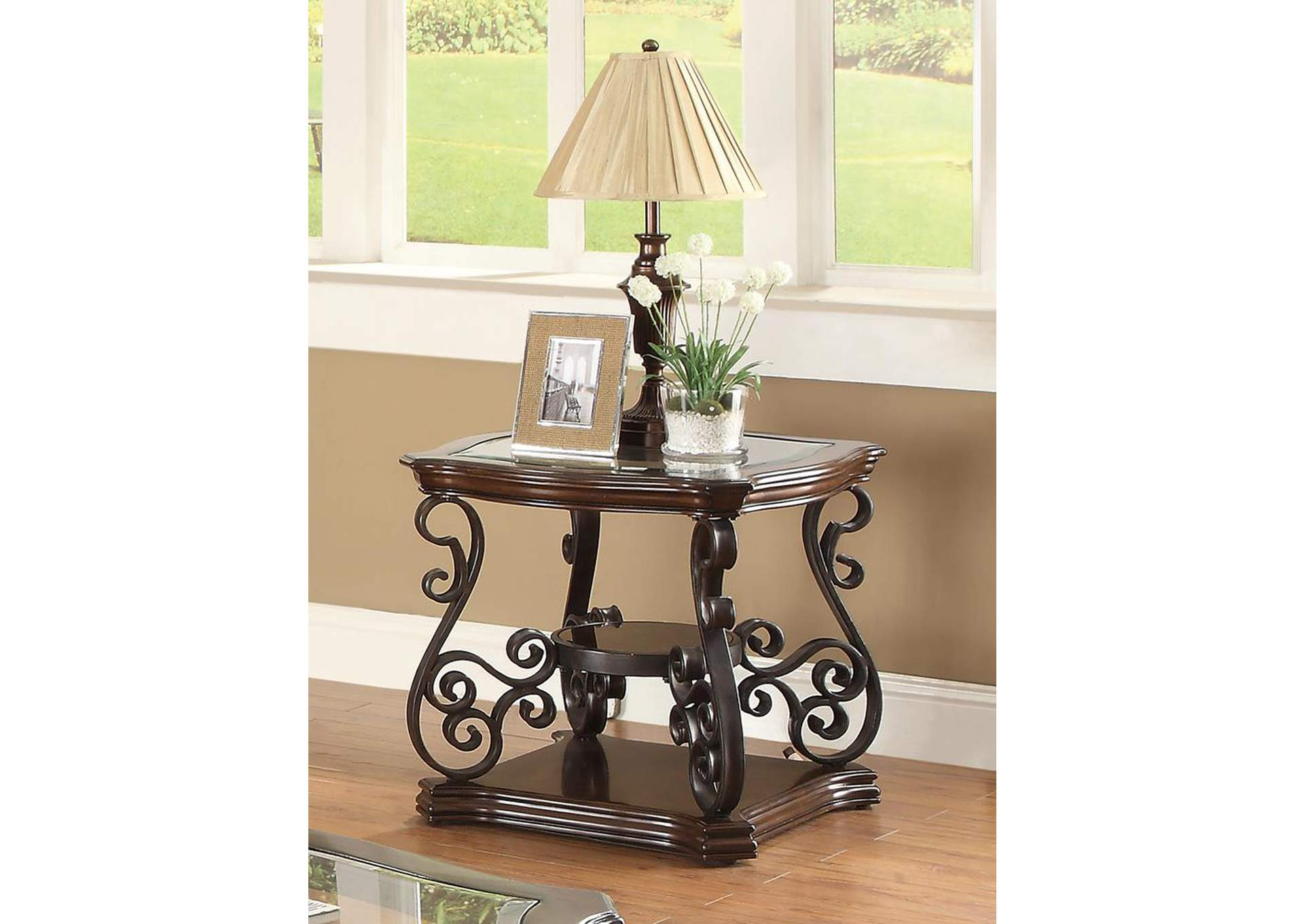 Affordable furniture carpet chicago il mahogany end table for Affordable furniture and carpet