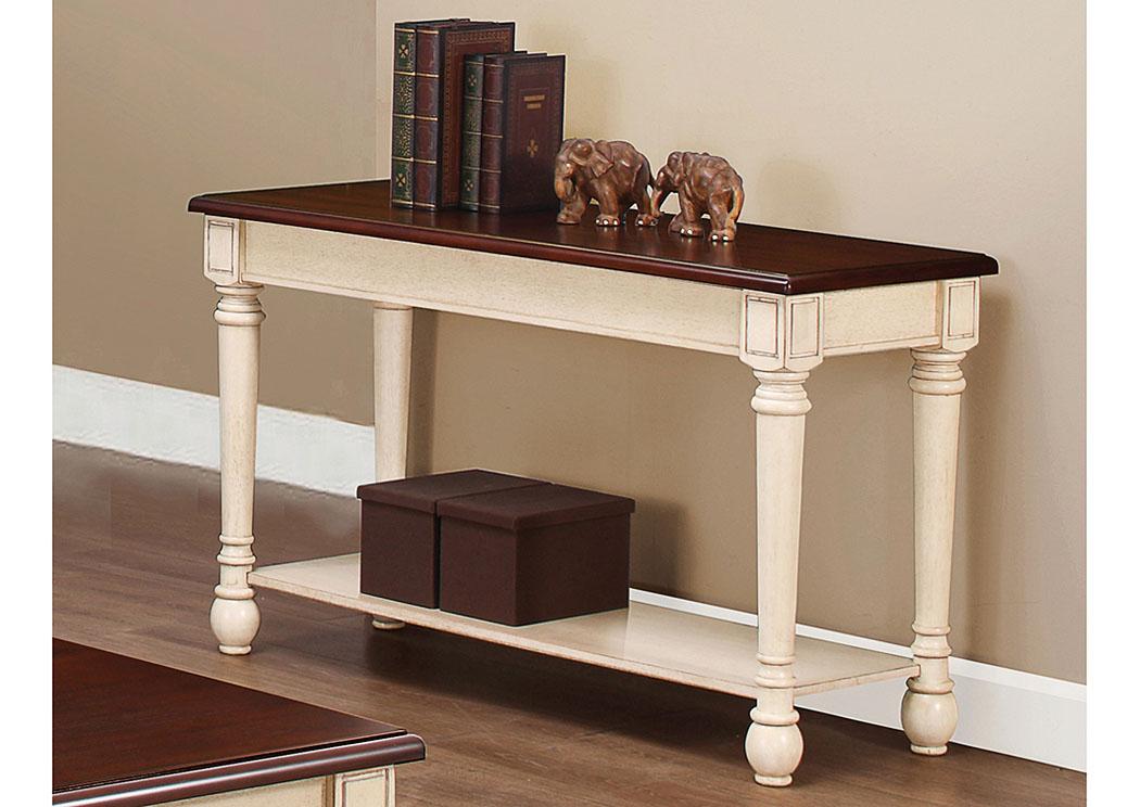 Compass Furniture Dark Cherry Antique White Sofa Table
