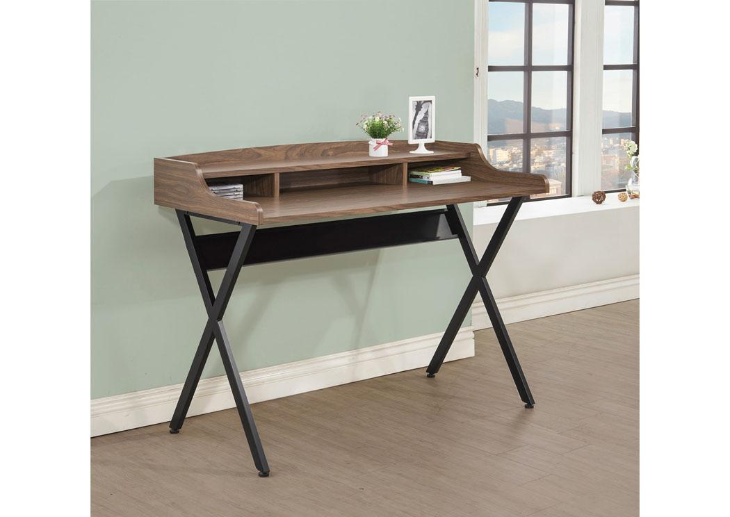 HD Furniture East Orange NJ Walnut & Black Writing Desk