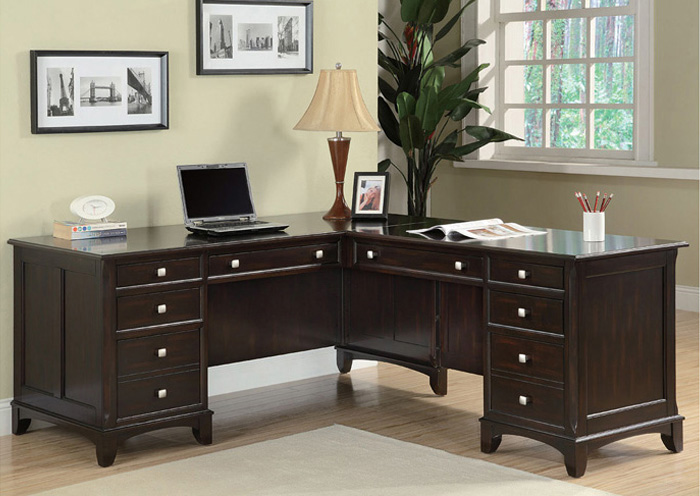 Garson Walnut Pedestal Desk,Coaster Furniture