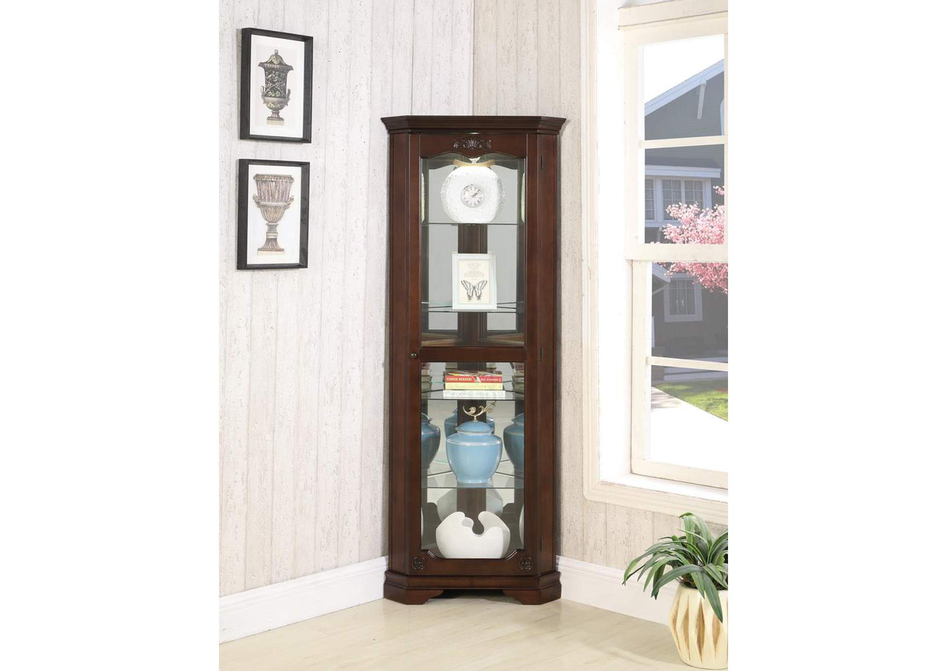 Cherry Curio Cabinet,Coaster Furniture