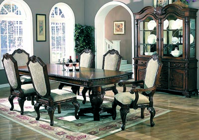 Saint Charles Brown Dining Table w/ 4 Side Chairs, 2 Arm Chairs, Buffet & Hutch
