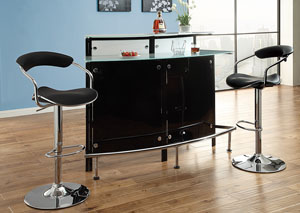 Chrome & Black Bar Table,Coaster Furniture