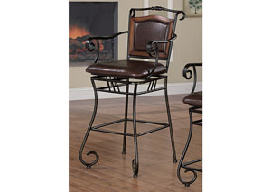 Brown & Black 29in Metal Bar Stool