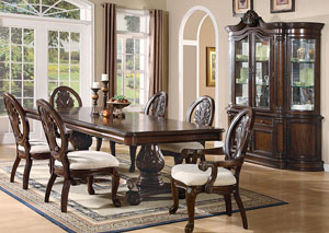 Tabitha Dark Cherry Pedestal Dining Table w/4 Side Chairs & 2 Arm Chairs