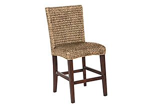 Natural Banana Leaf Counter Height Chair (Set of 2)