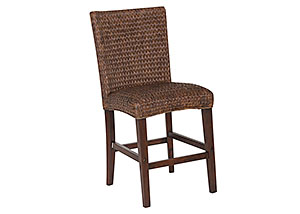 Dark Brown Banana Leaf Counter Height Chair (Set of 2)