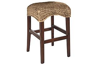 Natural Banana Leaf Counter Height Stool (Set of 2)