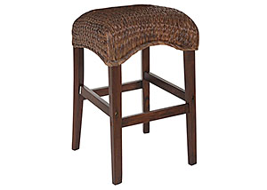Dark Brown Banana Leaf Counter Height Stool (Set of 2)