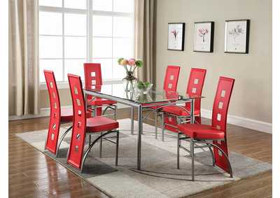 Red & Silver Dining Chair (Set of 2)