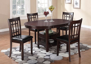 Lavon Espresso Dining Table w/4 Side Chairs