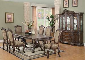 Andrea Brown Cherry Dining Table w/4 Side Chairs, 2 Arm Chairs & China